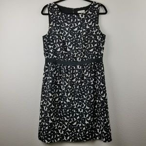 Ann taylor loft black and white sleeveless dress